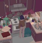 1girl animated animated_gif book brick_wall brown_shirt cabinet can canned_food cereal chopsticks coffee_maker_(object) coffee_mug commentary cooking counter crate cup dishes dishrack doodlebozo drawer dripping english_commentary faucet flower food from_above from_behind frying_pan highres indoors jar kettle kitchen kitchen_knife knife_block long_sleeves mug noodles note open_book original oven pants paper_towel pink_flower pink_rose pitcher plant potted_plant purple_hair ramen rose shirt short_hair sink solo spatula spoon standing steam stove striped striped_pants sunlight vertical-striped_pants vertical_stripes water window window_shade wok