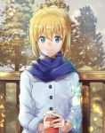 1girl ahoge artoria_pendragon_(all) blonde_hair blue_eyes blue_scarf braided_bun coat eyebrows_visible_through_hair fate/stay_night fate_(series) gorogoronemuri hair_between_eyes highres holding lens_flare looking_at_viewer outdoors saber scarf shiny shiny_hair smile solo tied_hair upper_body white_coat winter_clothes winter_coat