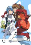 2girls aqua_hair ass ayanami_rei blue_eyes book breasts brown_hair clenched_teeth covered_nipples full_body hair_between_eyes hair_ornament hand_on_own_ass highres long_hair looking_at_viewer looking_back medium_breasts multiple_girls neon_genesis_evangelion open_mouth plugsuit red_eyes short_hair sitting skin_tight souryuu_asuka_langley squatting teeth twintails yasuda_akira