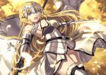 1girl ahoge akae_neo armor armored_dress bangs blonde_hair blue_eyes blush braid breasts chains clouds eyebrows_visible_through_hair fate/apocrypha fate/grand_order fate_(series) faulds feathers floating_hair gauntlets hair_between_eyes headpiece holding holding_sword holding_weapon jeanne_d'arc_(fate) jeanne_d'arc_(fate)_(all) large_breasts lens_flare long_hair looking_at_viewer open_mouth outdoors plackart sidelocks single_braid solo standard_bearer sword thigh-highs very_long_hair weapon wind wind_lift yellow_sky