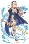 1girl barefoot black_hairband blue_cape cape closed_mouth feet female_my_unit_(fire_emblem_if) fire_emblem fire_emblem_if full_body hair_between_eyes hairband highres holding holding_sword holding_weapon long_hair my_unit_(fire_emblem_if) nintendo pointy_ears red_eyes rere_(yusuke) simple_background smile sword toes water weapon white_background white_hair