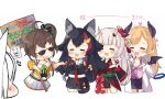 /\/\/\ 5girls :3 :d =_= animal_ear_fluff animal_ears bat_wings bell black_hair black_kimono black_shirt black_skirt black_wings blonde_hair blush brown_hair character_request chibi closed_eyes cowboy_shot cropped_legs demon_girl demon_horns demon_wings detached_sleeves drooling hair_bell hair_bun hair_ornament hand_to_own_mouth hand_up holding holding_collar holding_sign hololive horns japanese_clothes kimono kokka_han labcoat long_hair mask mask_on_head midriff multicolored_hair multiple_girls nakiri_ayame natsuiro_matsuri navel off-shoulder_shirt off_shoulder oni oni_horns oni_mask ookami_mio open_mouth out_of_frame pencil_skirt pink_shirt pleated_skirt puffy_short_sleeves puffy_sleeves purple_skirt redhead shirakami_fubuki shirt short_kimono short_sleeves side_bun sign silver_hair skirt smile streaked_hair sunglasses sweat tail translation_request very_long_hair virtual_youtuber white_background white_hair white_skirt wide_sleeves wings yellow_shirt yuzuki_choco