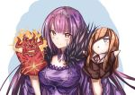 1girl :< bangs blue_eyes blush breasts brown_hair collared_shirt dress eyebrows_visible_through_hair eyepatch fate/grand_order fate_(series) fire fur_trim hair_between_eyes hair_over_one_eye hand_puppet highres horns jacket jewelry long_hair long_sleeves looking_at_viewer medium_breasts open_mouth ophelia_phamrsolone puppet purple_dress purple_hair red_eyes scathach_(fate)_(all) scathach_skadi_(fate/grand_order) sh22 shirt smile solo surtr_(fate/grand_order) tiara