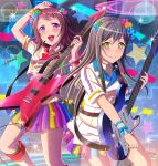 2girls :d artist_name badge bang_dream! bangs black_hair blue_flower blue_ribbon blush boots brown_hair button_badge cable center_frills electric_guitar flower green_eyes green_flower guitar hair_flower hair_ornament hanazono_tae headset instrument knee_boots long_hair medium_hair multicolored multicolored_clothes multicolored_skirt multiple_girls music musical_note musical_note_print open_mouth orange_flower pink_flower playing_instrument pleated_skirt plectrum ribbon short_sleeves signature skirt smile sparkle star toyama_kasumi violet_eyes wa-kun wrist_ribbon