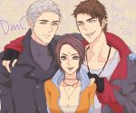 1girl 2boys black_hair blue_eyes breasts cleavage commentary_request dante_(dmc:_devil_may_cry) devil_may_cry dmc:_devil_may_cry facial_mark fingerless_gloves forehead_mark gloves hood hoodie jacket jewelry kat_(devil_may_cry) multiple_boys necklace open_mouth short_hair vergil white_hair