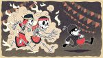 1girl 2boys beanie chibi closed_mouth commentary commission english_commentary flying_sweatdrops from_side hat holding jacket mask multiple_boys original pants red_skirt running setz skeleton skirt string_of_flags thief wide-eyed