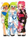 3girls bare_shoulders blue_eyes blush breasts cleavage collarbone fang feet floral_print full_body green_hair highres inkling japanese_clothes kimono long_hair medium_breasts medium_hair multiple_girls no_bra obi octoling off_shoulder open_mouth orange_hair penginmaru pink_hair pointy_ears red_eyes sandals sash short_hair short_kimono short_yukata simple_background splatoon splatoon_(series) splatoon_2 squidbeak_splatoon sweat tan tentacle_hair toes undressing v very_long_hair white_background yukata