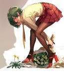 1girl :d bangs bent_over blush bouquet brown_legwear commentary_request flower full_body green_hair grey_background half-closed_eyes high_heels highres kazami_yuuka kikimifukuri long_sleeves miniskirt nail_polish necktie open_mouth pantyhose plaid plaid_skirt red_eyes red_footwear red_nails red_skirt shirt short_hair skirt smile solo standing thighs touhou two-tone_background white_background white_shirt yellow_flower yellow_neckwear