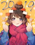 1girl 2019 :q bangs blanket blue_shirt brown_hair character_request commentary_request copyright_request drop_shadow earrings food food_on_head fruit fruit_on_head hair_bun hands_up heart highres jewelry kagami_mochi kate_iwana lips long_sleeves looking_at_viewer mandarin_orange nail_polish new_year object_on_head orange_background red_nails red_scarf scarf shirt short_hair snapping_fingers solo sweatshirt tassel_earrings tongue tongue_out upper_body violet_eyes