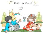 1boy 1girl ayumi_(pokemon) black_eyes black_hair brown_hair bulbasaur charmander closed_eyes creatures_(company) eevee floral_print game_freak gen_1_pokemon hagoita hakama hanetsuki hanten_(clothes) happy_new_year japanese_clothes kakeru_(pokemon) kimono mizutani_megumi nengajou new_year nintendo paddle pikachu pokemon pokemon_(creature) pokemon_(game) pokemon_lgpe pokemon_on_shoulder pom_pom_(clothes) ponytail seiza signature simple_background sitting squirtle white_background wide_sleeves
