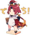 1girl apron benienma_(fate/grand_order) bow chibi commentary_request eyebrows_visible_through_hair fate/grand_order fate_(series) feather_trim full_body geta hair_ribbon hat highres long_sleeves looking_at_viewer pekeko_(pepekekeko) pocket ponytail red_eyes redhead ribbon rice_cooker rice_spoon smile solo standing translated white_background wide_sleeves wood
