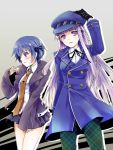 2girls asuma_shin blue_hair blush cabbie_hat cosplay costume_switch danganronpa eyebrows_visible_through_hair gloves hair_ribbon hat jacket kirigiri_kyouko long_hair looking_at_viewer multiple_girls necktie persona persona_4 pleated_skirt purple_hair ribbon shirogane_naoto shirt short_hair simple_background skirt sleeves_past_wrists violet_eyes white_shirt