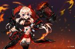1girl aisha_(elsword) artist_request bare_shoulders black_legwear black_shirt bow breasts chains collared_shirt crop_top elsword fire floating_hand hair_bow hair_ribbon hammer hands_on_hips holding holding_weapon midriff navel official_art pink_hair red_shorts ribbon shirt short_shorts shorts single_arm_warmer sleeveless sleeveless_shirt small_breasts smile solo thigh-highs violet_eyes weapon