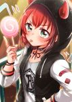 1girl :p black_choker blush bracelet braid choker collarbone demon_horns drawstring green_eyes group_name hand_on_hip holding_lollipop hood hood_up hooded_jacket horned_hood horns hoshina_mako jacket jewelry kurosawa_ruby long_sleeves looking_at_viewer love_live! love_live!_school_idol_festival love_live!_sunshine!! patch print_shirt raglan_sleeves railing redhead shirt short_hair side_braid solo tongue tongue_out upper_body v-shaped_eyebrows