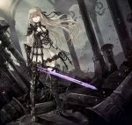 1girl armor armored_dress armpit_cutout bangs boots braid breasts choker clouds cloudy_sky crown_braid dress expressionless floating_hair full_body gauntlets greaves high_heel_boots high_heels highres holding holding_sword holding_weapon lace lace-trimmed_dress light_brown_hair long_hair long_sword looking_away original outdoors pillar ruins senano-yu sidelocks sky small_breasts solo sword tsurime weapon white_dress wind yellow_eyes