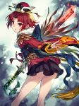 1girl absurdres back_bow bare_legs benienma_(fate/grand_order) bird_hat black_bow black_skirt bow cowboy_shot fate/grand_order fate_(series) highres holding holding_sword holding_weapon horn kusano_shinta leaning_forward looking_at_viewer obi red_eyes red_shirt redhead sash shirt short_hair skirt solo sword weapon