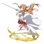 1girl asuna_(sao) braid breastplate brown_eyes brown_hair detached_sleeves floating_hair full_body holding holding_sword holding_weapon leg_up long_hair long_sleeves looking_at_viewer miniskirt outstretched_arms pleated_skirt red_skirt shiny shiny_hair simple_background skirt solo sword sword_art_online sword_art_online:_code_register thigh-highs very_long_hair waist_cape weapon white_background white_legwear white_sleeves zettai_ryouiki