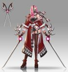 1girl bare_shoulders belt black_panties boots brown_legwear coat contrapposto dual_wielding full_body garter_straps glint gradient gradient_background grey_background highres holding holding_sword holding_weapon leaf98k looking_at_viewer mask miniskirt off_shoulder original panties pencil_skirt pink_eyes pink_hair red_coat reflection reflective_floor scarf skirt solo standing sword thigh-highs underwear weapon