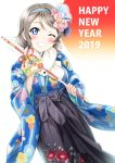 1girl 2019 arrow blue_eyes blush commentary_request floral_print flower grey_hair grin hair_flower hair_ornament hairband hairclip happy_new_year highres holding holding_arrow japanese_clothes kimono long_sleeves looking_at_viewer love_live! love_live!_sunshine!! new_year one_eye_closed rozen5 short_hair smile solo teeth watanabe_you wide_sleeves
