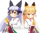 2girls animal_ear_fluff animal_ears bangs bell black_hair blonde_hair blush brown_eyes brown_flower closed_mouth commentary_request eyebrows_visible_through_hair ezo_red_fox_(kemono_friends) flower fox_ears gradient_hair hair_between_eyes hair_flower hair_ornament hakama highres japanese_clothes jingle_bell kagura_suzu kemono_friends kemono_friends_festival kimono long_sleeves miko multicolored_hair multiple_girls purple_flower red_hakama ribbon-trimmed_sleeves ribbon_trim shin01571 short_kimono silver_fox_(kemono_friends) silver_hair simple_background smile white_background white_kimono wide_sleeves