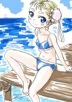 1girl blonde_hair blue_eyes bun_cover chrono_cross commentary_request double_bun looking_at_viewer marcy_(chrono_cross) s-a-murai short_hair smile solo swimsuit