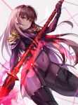 1girl absurdres armor bangs blush bodysuit breasts fate/grand_order fate_(series) gae_bolg_(fate) hair_between_eyes highres huge_filesize kyo_(maae00) large_breasts long_hair looking_at_viewer pauldrons polearm purple_bodysuit purple_hair red_eyes revision scathach_(fate) scathach_(fate)_(all) shoulder_armor smile solo spear thighs very_long_hair weapon