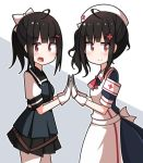 2girls ac130 ahoge alternate_costume alternate_hairstyle apron armband belt black_hair blush commentary_request dual_persona girls_frontline gloves gsh-18_(girls_frontline) hair_ornament hairclip hands_clasped hat highres looking_at_viewer multiple_girls necktie nurse nurse_cap open_mouth own_hands_together ponytail red_eyes side_ponytail simple_background smile vest white_background white_gloves