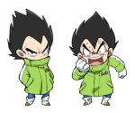 1boy anger_vein angry annoyed arm_at_side bidarian black_eyes black_hair boots chibi clenched_hand coat d: dragon_ball dragon_ball_super dragon_ball_super_broly dragonball_z expressionless frown full_body gloves green_coat hands_in_pockets looking_at_viewer male_focus open_mouth serious short_hair simple_background spiky_hair standing teeth upper_body v-shaped_eyebrows vegeta white_background winter_clothes
