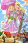 2boys 2girls armor blonde_hair blue_eyes blush bowser closed_eyes crown dress earrings ganondorf gerudo gloves hat highres jewelry long_hair mario_(series) multiple_boys multiple_girls mushroom nintendo pointy_ears princess_peach redhead shell simple_background smile spikes super_mario_bros. super_smash_bros. super_smash_bros._ultimate sword the_legend_of_zelda the_legend_of_zelda:_a_link_between_worlds the_legend_of_zelda:_ocarina_of_time toad weapon yagaminoue