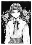 1girl arms_at_sides bangs blunt_bangs bob_cut buttons closed_mouth collared_shirt dated earrings eyebrows floral_background flower gisele_alain gisele_alain_(character) greyscale highres ink_(medium) jewelry kasai_sui light_smile long_sleeves looking_at_viewer monochrome neck_ribbon ribbon rose shirt short_hair solo striped traditional_media upper_body vertical_stripes
