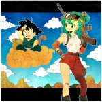 1boy 1girl :d aqua_eyes aqua_hair bag bandage black_eyes black_hair blue_sky boots border bulma carrying clouds cloudy_sky day denim dougi dragon_ball dragon_ball_(classic) expressionless floating flying_nimbus gloves goggles goggles_on_head gun hand_on_hip hand_on_own_face happy highres jeans legs_crossed letterboxed looking_away mountain open_mouth outdoors over_shoulder pants rock shirt short_hair sitting sky sleeves_rolled_up smile son_gokuu spiky_hair spread_legs standing tail teeth toritoki_(trig_tkdb) torn_clothes tree upper_teeth weapon weapon_over_shoulder white_border white_shirt wristband