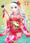 1girl arrow female_my_unit_(fire_emblem_if) fire_emblem fire_emblem_if floral_print flower hair_between_eyes hair_flower hair_ornament hair_ribbon hairband highres japanese_clothes kimono long_hair looking_at_viewer my_unit_(fire_emblem_if) nail_polish new_year nintendo obi open_mouth red_eyes red_nails ribbon sash silver_hair smile solo taguchi_(igutiguti) wavy_hair wide_sleeves