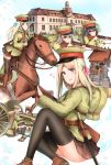 6+girls artillery backpack bag bayonet blonde_hair boots brown_hair cannon gun hat highres horse howitzer knife long_hair military military_hat military_uniform multiple_girls original rifle rope shimenawa short_hair shrine skirt stone_lantern syotastar thigh-highs twintails uniform weapon