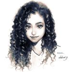 artist_name commentary commission curly_hair english_commentary greyscale lips looking_at_viewer monochrome original portrait shirt simple_background smile solo takenaka watermark web_address white_background