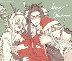 3boys antlers christmas fake_facial_hair fake_mustache hat lang_wu_yao lin_xue_ya multiple_boys red_nose reindeer_antlers ribbon santa_hat shang_bu_huan simple_background thunderbolt_fantasy worrisorochi yin_lei_ling_ya