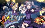 2girls :d black_footwear blonde_hair blue_skirt blurry blurry_background boots detached_sleeves drill_hair floating_hair grey_ribbon hair_ornament hair_ribbon halloween halloween_costume idolmaster idolmaster_cinderella_girls kanzaki_ranko knee_boots layered_skirt long_hair long_sleeves miniskirt multiple_girls nail_polish neck_ribbon nennen night night_sky open_mouth outdoors outstretched_arm pencil_skirt pink_eyes purple_nails purple_neckwear purple_skirt purple_sleeves red_ribbon ribbon shirasaka_koume short_hair silver_hair single_sleeve skirt skull sky sleeves_past_wrists smile thigh-highs thigh_strap twin_drills twintails very_long_hair
