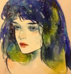 1girl blue_hair closed_mouth commentary conniekims english_commentary lips lipstick looking_afar looking_at_viewer makeup medium_hair original photo portrait red_lipstick solo sparkle traditional_media watercolor_(medium)