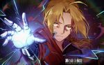 1boy ahoge blonde_hair coat commentary_request copyright_name edward_elric english_text fullmetal_alchemist glowing hair_intakes hood hood_down marchab_66 outstretched_hand ponytail prosthetic_hand solo yellow_eyes
