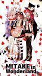 3girls :i alice_in_wonderland animal_ears aoba_moka apron bang_dream! black_dress black_hat black_ribbon blue_eyes blush boots bow brown_hair card chino_machiko club_(shape) commentary diamond_(shape) dress fishnet_pantyhose fishnets flower grey_eyes grey_hair grin guitar hair_between_eyes hair_bow hair_ribbon hat heart high_heel_boots high_heels highres holding holding_instrument instrument jacket jitome looking_at_viewer mitake_ran multicolored_hair multiple_girls neck_ribbon pantyhose playing_card red_flower red_neckwear red_ribbon red_rose redhead ribbon rose short_hair smile spade_(shape) standing streaked_hair striped striped_legwear symbol_commentary thigh-highs thigh_boots title_parody top_hat translated udagawa_tomoe waist_apron white_apron white_jacket