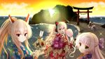 :d animal_ears arrow ayanami_(azur_lane) azur_lane bangs black_kimono blonde_hair blue_kimono bow cat_ear_headphones cat_ears closed_mouth clouds cloudy_sky commentary_request concord_(azur_lane) cotton_candy ema eyebrows_visible_through_hair floral_print food hair_between_eyes hair_bow hamaya headphones high_ponytail holding holding_arrow holding_food horizon indianapolis_(azur_lane) insider_(pix_insider) japanese_clothes kimono long_hair long_sleeves nagato_(azur_lane) obi ocean open_mouth orange_sky outdoors parted_lips ponytail portland_(azur_lane) print_kimono purple_bow purple_kimono red_eyes red_kimono sash short_kimono sidelocks sky smile sparkle squatting sunset torii twintails very_long_hair water z46_(azur_lane)