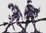 1boy 1girl age_regression height_difference levi_(shingeki_no_kyojin) mikasa_ackerman military military_uniform shingeki_no_kyojin short_hair survey_corps_(emblem) uniform weapon younger