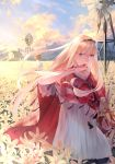 1girl bangs blonde_hair blood blood_from_mouth blue_eyes blue_sky blurry blurry_background brown_hair cape clouds cloudy_sky commentary_request day depth_of_field dress eyeshadow field floating_hair flower flower_field flower_request hairband highres holding long_hair looking_at_viewer makeup original outdoors red_cape short_sleeves sky solo solo_focus sousou_(sousouworks) standing stuffed_animal stuffed_bunny stuffed_toy tears white_dress white_flower windmill wiping_face
