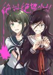 2girls ahoge angry bekkourico black_shirt blood blush brown_eyes brown_hair collarbone commentary_request danganronpa danganronpa_1 dot_nose eyebrows_visible_through_hair fukawa_touko glasses grey_eyes hair_between_eyes hair_ornament hairclip hand_on_shoulder long_hair looking_at_another looking_at_viewer megaphone multiple_girls naegi_komaru necktie open_eyes open_mouth pink_blood pleated_skirt purple_hair red_neckwear school_uniform serafuku shirt short_hair skirt tearing_up teeth torn_clothes translated upper_body zettai_zetsubou_shoujo