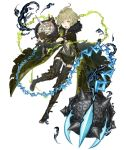 1boy ahoge blood boots chains club flail full_body fur_collar gloves green_eyes green_hair ji_no knee_boots long_coat long_nose looking_at_viewer official_art pinocchio_(sinoalice) shorts single_glove sinoalice solo spiked_club suspenders thigh-highs tongue tongue_out torn_clothes transparent_background weapon