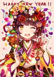 1girl ;d animal ball bangs bell blunt_bangs boar brown_hair crown dice dice_hair_ornament ema food_themed_hair_ornament gold hagoita hair_ornament hair_ribbon hair_stick hanetsuki happy_new_year highres japanese_clothes jingle_bell kimono koban_(gold) long_sleeves looking_at_viewer multicolored multicolored_nails nail_polish neck_ribbon new_year obi one_eye_closed open_mouth original outline paddle pink_background print_kimono red_ribbon ribbon rope round_teeth sash shimenawa short_hair simple_background smile solo spinning_top tareme tassel teeth temari_ball upper_body upper_teeth user_fvsd2278 white_outline wide_sleeves yellow_eyes yellow_kimono