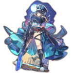 1girl blue_eyes boots expressionless full_moon gloves gun hands_together hat holding holding_gun holding_weapon industrial knee_boots last_period long_hair looking_at_viewer military military_uniform moon night official_art outdoors outstretched_arms rifle sky solo standing star_(sky) starry_sky thigh_strap uniform weapon whoopin