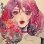 1girl choker commentary conniekims english_commentary flower lipstick looking_at_viewer makeup original parted_lips pink_flower portrait purple_choker purple_hair red_lipstick short_hair solo traditional_media violet_eyes watercolor_(medium)