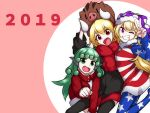 2019 3girls ;d american_flag_jacket american_flag_legwear animal animal_ears arm_up arms_up bangs black_jacket black_legwear blonde_hair boar clownpiece commentary_request fang fangs fur_collar green_eyes green_hair grin hat holding holding_animal horn jacket jester_cap kameyan komano_aun long_hair long_sleeves looking_at_viewer multiple_girls new_year one_eye_closed open_mouth pantyhose pink_background polka_dot red_eyes red_jacket red_scarf rumia scarf short_hair smile star star-shaped_pupils symbol-shaped_pupils thigh-highs touhou v violet_eyes zipper