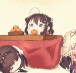 ahoge bangs black_hair blonde_hair blue_eyes blush bow bowl braid brown_hair chibi closed_eyes eyebrows_visible_through_hair food fruit gloves hair_flaps hair_ornament hatsuzuki_(kantai_collection) headband kantai_collection koppa_mijinko_(series2023) kotatsu long_hair lying multiple_girls orange shigure_(kantai_collection) short_hair simple_background single_braid sitting sleeping table yellow_background yuudachi_(kantai_collection)