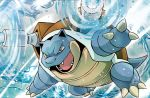 ariga_hitoshi blastoise blue_skin brown_eyes cannon creatures_(company) fangs game_freak gen_1_pokemon nintendo official_art open_mouth pokemon pokemon_trading_card_game turtle